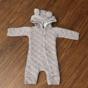 Kickee pants quilted hoodie coveralls, 0/3 mo Euc